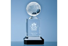 23cm Mounted Optical Crystal Football Column Award