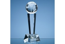 Optical Crystal Facetted Column Globe Award