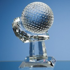 10cm Optical Crystal Golf Ball on Mounted Hand Award