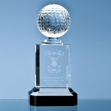 23cm Mounted Optical Crystal Golf Ball Column Award