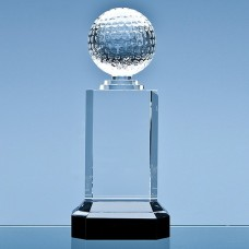 25.5cm Mounted Optical Crystal Golf Ball Column Award