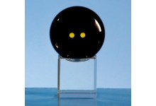 6cm Onyx Black Optic Squash Ball on Clear Base