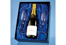 2 Blenheim Lead Crystal Panel Champagne Flutes with a 75cl Bottle of Brut House Champagne in a Satin Lined Presentation Box - Call for a quote