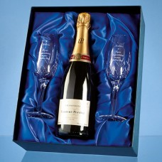 2 Blenheim Lead Crystal Panel Champagne Flutes with a 75cl Bottle of Laurent Perrier Champagne in a Satin Lined Presentation Box - Call for a quote