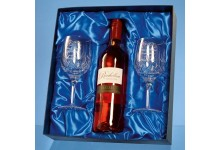 2 Blenheim Lead Crystal Panel Goblets with a 75cl Bottle of Richelieu Rose Wine in a Satin Lined Presentation Box - Call for a quote