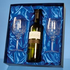 2 Blenheim Lead Crystal Panel Goblets with a 75cl Bottle of Richelieu White Wine in a Satin Lined Presentation Box - Call for a quote