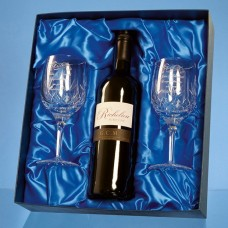 2 Blenheim Lead Crystal Panel Goblets with a 75cl Bottle of Richelieu Red Wine in a Satin Lined Presentation Box - Call for a quote