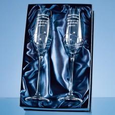 Diamante Champagne Flutes Spiral